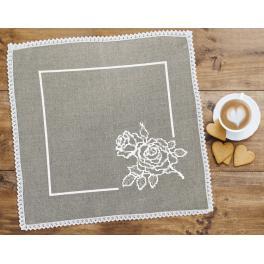 Stickpackung mit Stickgarn und Serviette - Serviette mit Rose Leinen