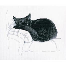 Stickpackung - Schwarze Katze - Ich beobachte Dich!