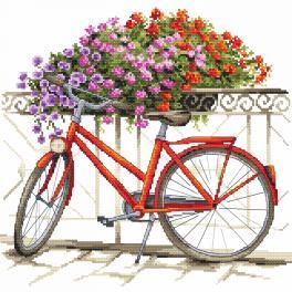 Set mit Aida mit Aufdruck und Stickgarn - Mit dem Fahrrad durch den Sommer