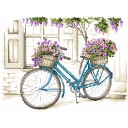 Stickpackung - Fahrrad mit Petunie