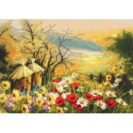 Zählmuster - Garten mit Bienenstöcken
