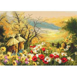 Gobelin - Garten mit Bienenstöcken