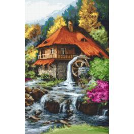 Set mit Aida mit Aufdruck und Stickgarn - Mühle in den Bergen