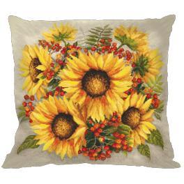 Stickpackung mit Kissenbezug - Kissen - Sonnenblumen