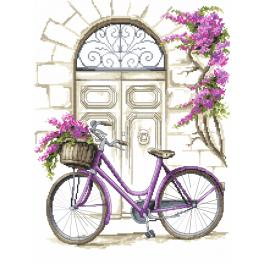 W 8771 Zahlmuster online - Fahrrad mit Bougainvillea