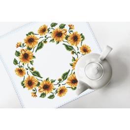 Stickpackung mit Stickgarn und Serviette - Serviette - Sonnenblumen