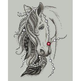 Set mit Aida mit Aufdruck und Stickgarn - Pferd mit einem Stift
