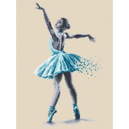 ZN 8778 Set mit Aida mit Aufdruck und Stickgarn - Baletttänzerin - Sinnliche Schönheit