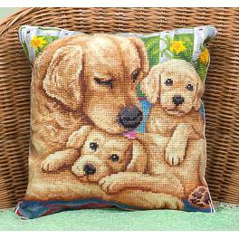 Stickpackung - Kissen mit Hunden – In der Nähe der Mutter