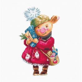 Stickpackung - Weihnachtsschweinchen