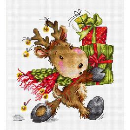 Stickpackung - Hirschkalb mit Geschenken