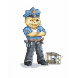 K 8781 Gobelin - Katze - Polizist