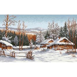 Aida mit Aufdruck - Hütte im Winter - S. Sikora