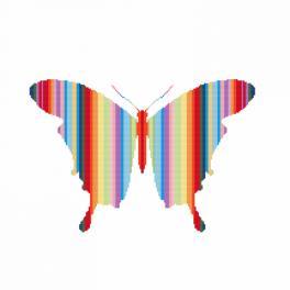 Zahlmuster online - Regenbogenfarbene Schmetterling