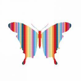 Zählmuster - Regenbogenfarbene Schmetterling