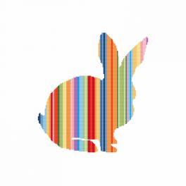 Zahlmuster online - Regenbogenfarbene Kaninchen