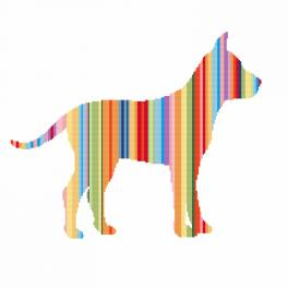 Zahlmuster online - Regenbogenfarbene Hund