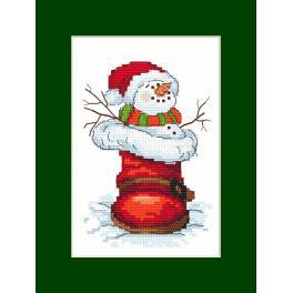 Stickpackung - Karte mit Schneemann