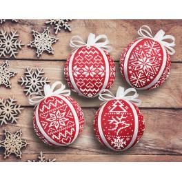 Zahlmuster online - Skandinavische Weihnachtskugeln