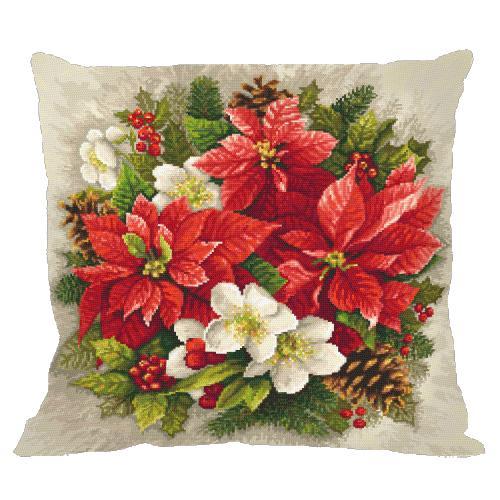 Stickpackung mit Kissenbezug - Kissen - Weihnachtsmagie der roten Farbe