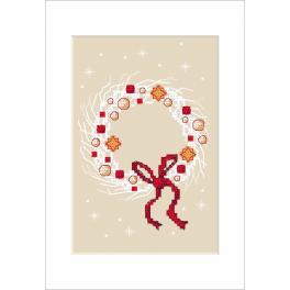 Stickpackung - Weihnachtskarte - Kranz