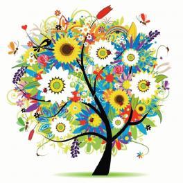Diamond Painting kit - Baum mit Blumen