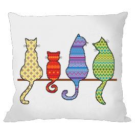 Stickpackung mit Kissenbezug - Kissen - Bunte Katzen