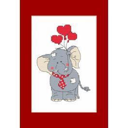 Zählmuster - Valentinstagskarten - Elefant