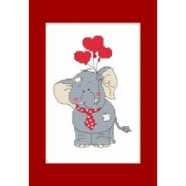 Stickpackung - Valentinstagskarten - Elefant