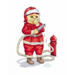 K 8782 Gobelin - Katze - Feuerwehrmann
