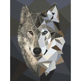 Set mit Aida mit Aufdruck und Stickgarn - Mosaikwolf