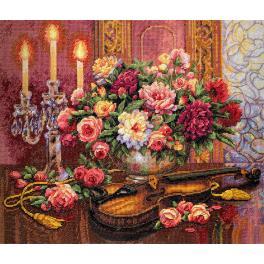 Stickpackung - Blumenstrauß und Geige