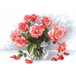 Set mit Aida mit Aufdruck und Stickgarn - Geheimnisvolle Rosen