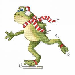 W 10200 Zahlmuster online - Frosch beim Eislaufen