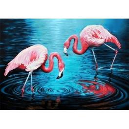 Diamond Painting Set - Flamingos auf dem See