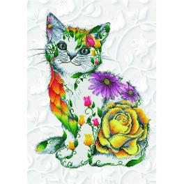 Diamond Painting Set - Katze in Blumen
