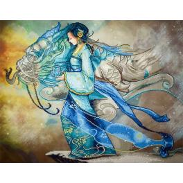 Diamond Painting Set - Prinzessin und Drache
