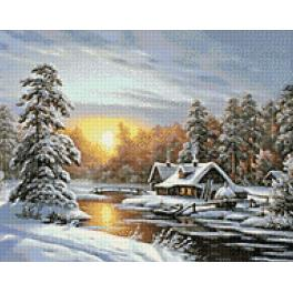 Diamond Painting Set - Sonnenaufgang im Winter