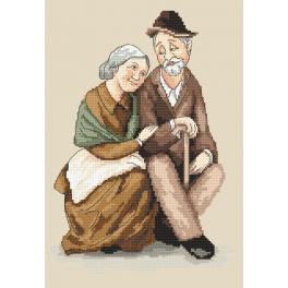 ZN 10159 Set mit Aida mit Aufdruck und Stickgarn - Großmutter und Großvater