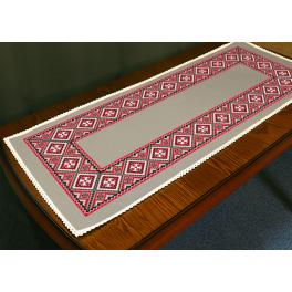Stickpackung mit Stickgarn und Tischläufer -Ethnische Tischläufer Leinen I