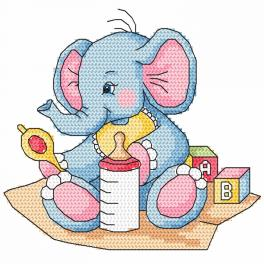 W 8616 Zahlmuster online - Blaues Elefantchen