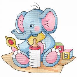 Zählmuster - Blaues Elefantchen