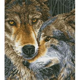 Diamond Painting Set - Sich umarmende Wölfe