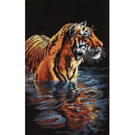 Stickpackung - Tiger im Wasser