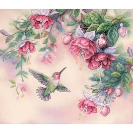 Stickpackung mit Stickgarn und Hintergrund - Kolibri und Fuchsie