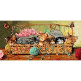 Stickpackung - Kätzchen im Korb
