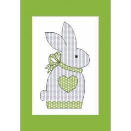 Stickpackung - Karte mit kleinem Hasen