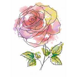 Set mit Aida mit Aufdruck und Stickgarn - Entzückende Rose