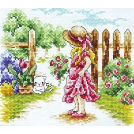 Stickpackung - Mädchen nahe dem Zaun