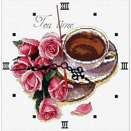 Stickpackung - Uhr mit Rosen